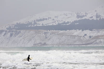 Into The Winter Surf Art Print