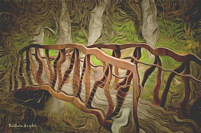 Cloudy Day Painting - Into The Woods by Barbara Snyder