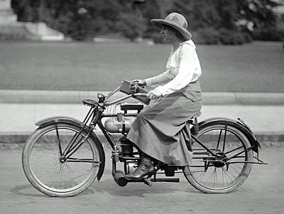 Intrepid Woman On Motorcycle C. 1917 Art Print