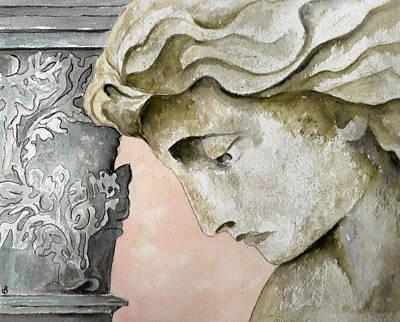 Statue Portrait Painting - Introspective by Brenda Owen