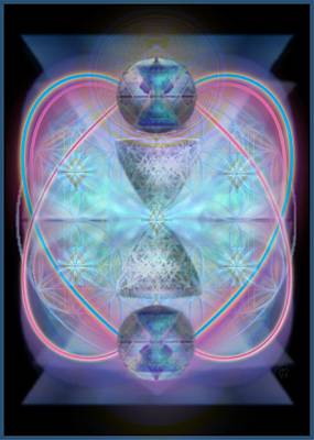 Digital Art - Intwined Hearts Chalice Shimmering Turquoise Vortexes by Christopher Pringer