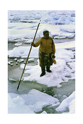 Print featuring the photograph Inuit Seal Hunter Barrow Alaska July 1969 by California Views Mr Pat Hathaway Archives