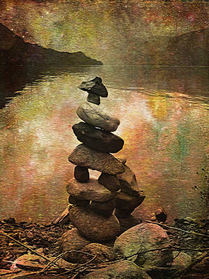 Inukshuk - Northern Lights Night Art Print