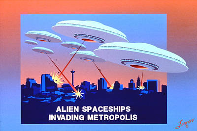 Invading Metropolis Poster Art Print by Charles Fennen