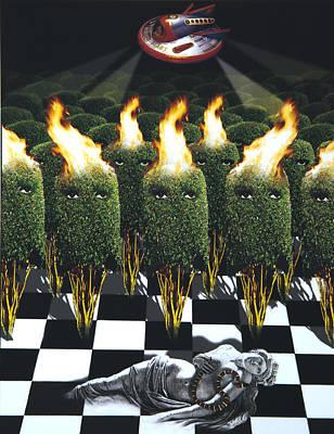 Damsel In Distress Digital Art - Invasion Of The Alien Bushes by Larry Butterworth