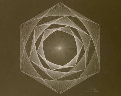 Drawing - Inverted Energy Spiral by Jason Padgett