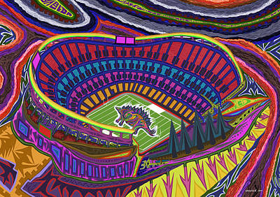Painting - Invesco Field - Stegasaurus Stadium by Robert SORENSEN