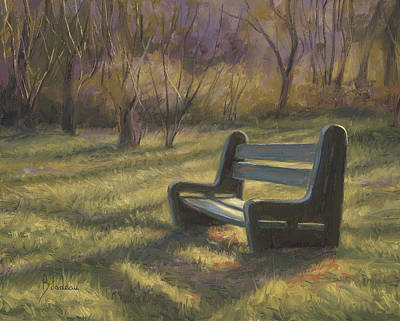 Cape Cod Painting - Inviting Bench by Lucie Bilodeau