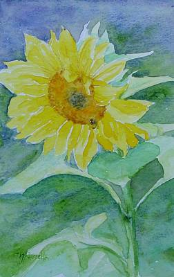Painting - Inviting Sunflower Small Sunflower Art by Elizabeth Sawyer