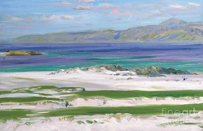 Loch Painting - Iona Sound And Ben More by FCB Cadell