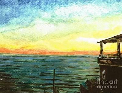Art Print featuring the painting Ionian Sea Zanti Greek Island by Teresa White