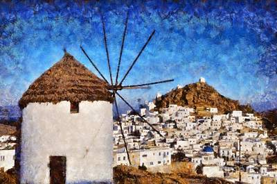 Painting - Ios Town And Windmill by George Atsametakis