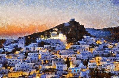 Painting - Ios Town During Sunset by George Atsametakis