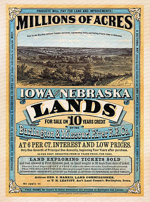 Lithograph Mixed Media - Iowa And Nebraska Lands - 1872 by Mountain Dreams