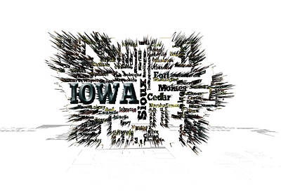Mapping Mixed Media - Iowa  by Brian Reaves