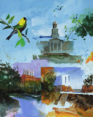 Finch Painting - Iowa City Montage by Stan Fellows