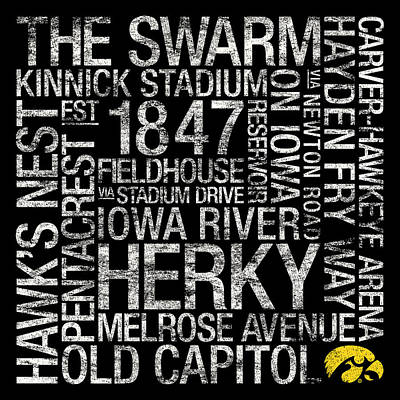 Logo Photograph - Iowa College Colors Subway Art by Replay Photos