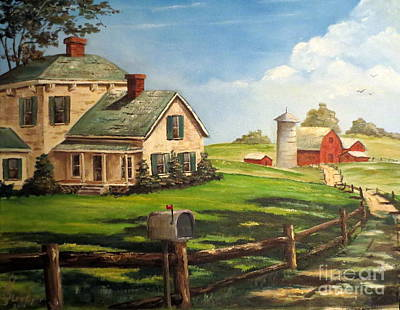 Painting - Cherokee Iowa Farm House by Lee Piper