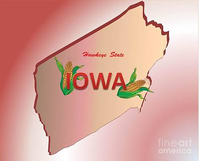 Drawing - Iowa Hawkeye State by Belinda Threeths