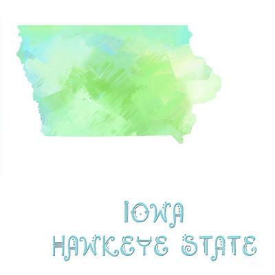 Digital Art - Iowa - Hawkeye State - Map - State Phrase - Geology by Andee Design