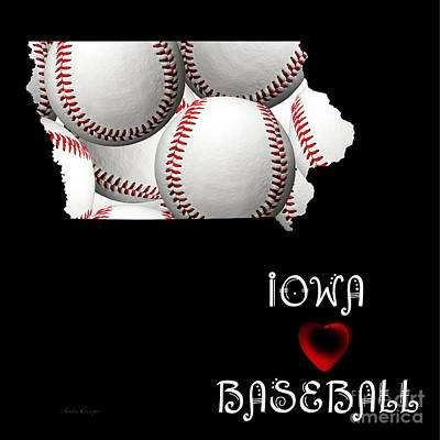 Hearts Digital Art - Iowa Loves Baseball by Andee Design