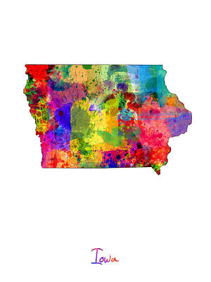 United States Map Digital Art - Iowa Map by Michael Tompsett
