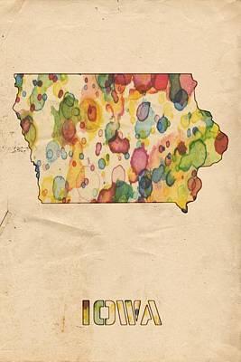 Iowa Painting - Iowa Map Vintage Watercolor by Florian Rodarte