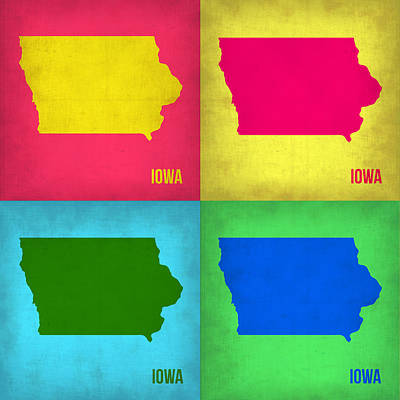 Modern Poster Painting - Iowa Pop Art Map 1 by Naxart Studio