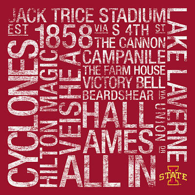 Iowa State College Colors Subway Art Art Print by Replay Photos