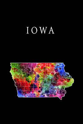 Mississippi Map Digital Art - Iowa State by Daniel Hagerman