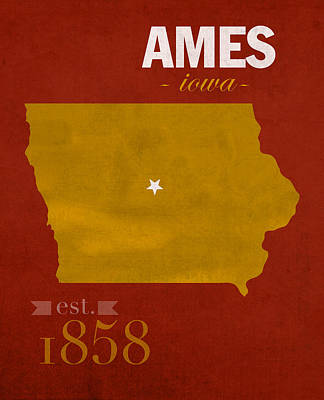 Iowa State University Cyclones Ames Iowa College Town State Map Poster Series No 050 Art Print by Design Turnpike