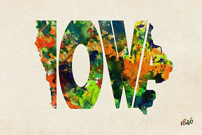 Painting - Iowa Typographic Watercolor Map by Ayse Deniz