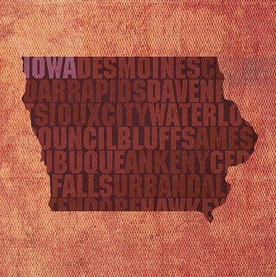 Wall Art - Mixed Media - Iowa Word Art State Map On Canvas by Design Turnpike