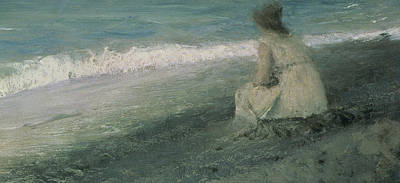 Lady On The Beach Painting - Iphigenia At Tauris by Valentin A Serov