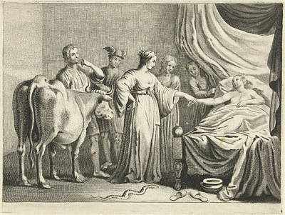 Sex Change Drawing - Iphis Changed By Isis Young Man, Cornelis Van Dalen II by Cornelis Van Dalen (ii) And Nicolaes Pietersz. Berchem And F. Poppens