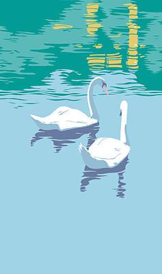 iPhone Case - Abstract Swans bird lake pop art nouveau retro 80s 1980s landscape stylized painting  Original