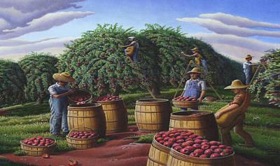 Amish Family Painting - Iphone Case - Autmn Apple Harvest - Folk Art Farm Landscape - Americana by Walt Curlee