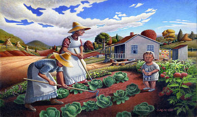 Regionalism Painting - iPhone Case - Family Vegetable Garden Farm Landscape - Gardening - Homestead by Walt Curlee