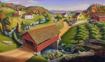 Covered Bridge Painting - iPhone Case - Farm Folk Art - Red Covered Bridge - Rural Americana by Walt Curlee