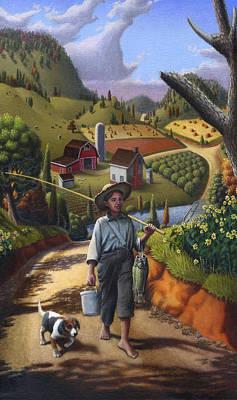 Ohio Painting - iPhone Case - Folk Art Farm - Boy and Dog Farm Landscape - americana by Walt Curlee