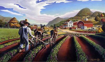 Ohio Painting - iPhone Case - Folk Art Farm Appalachian Summer Farmer Cultivating Peas Landscape Americana by Walt Curlee