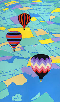 Arial Landscape Painting - iPhone Case - Three Hot Air Balloons Arial Absract Landscape by Walt Curlee