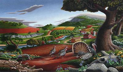 Smoky Mountains Painting - Iphone Case - Wild Turkeys Rural Farm Landscape - Folk Art Americana by Walt Curlee