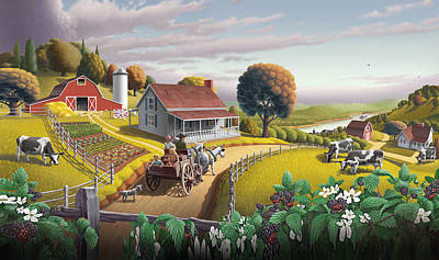 Amish Farms Digital Art - Iphone Case - Appalachian Blackberry Patch Landscape - Folk Art Americana by Walt Curlee