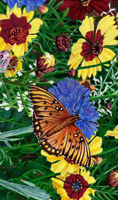 Garden Scene Painting - iPhone Case -Butterfly Wildflowers garden oil painting Floral green blue orange-2  by Walt Curlee