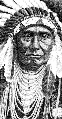 Indian Portraits Drawing - iPhone-Case-Chief-Joseph by Gordon Punt