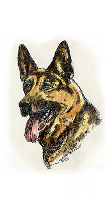 Drawing - iPhone-Case-Dog-GermanShep. by Gordon Punt