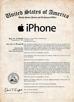 Collectible Mixed Media - iPhone Certificate Patent Art by Stephen Chambers