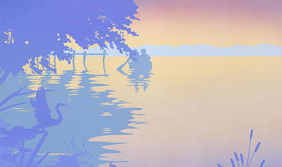 iPhone - Galaxy Case tropical boat Dock Sunset large pop art nouveau retro 1980s florida seascape Art Print by Walt Curlee