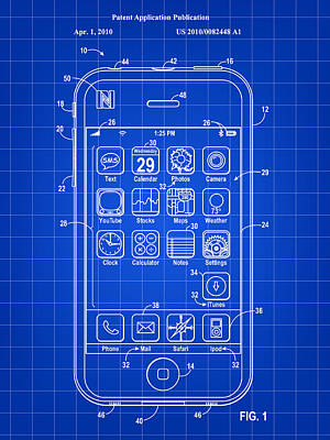 Phone Digital Art - iPhone Patent - Blue by Stephen Younts